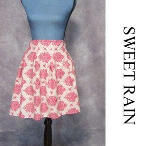 Sweet Rain Ivory & Pink Print Skirt Fully Lined L